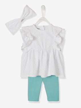 Vertbaudet Sale-Baby-T-Shirt with Frills + Leggings + Hairband Outfit, for Baby Girls