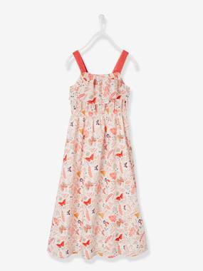 Vertbaudet Sale-Girls-Long Printed Dress, Macramé Details, for Girls