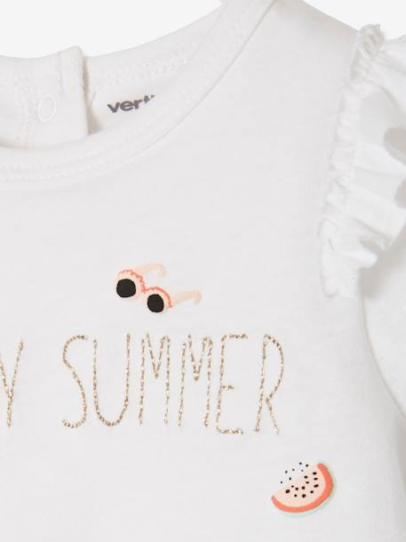 Bodysuit T-shirt with Frills, for Baby Girls WHITE LIGHT SOLID WITH DESIGN - vertbaudet enfant