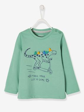 Baby-T-shirts & Roll Neck T-Shirts-T-shirts-T-Shirt for Baby Boys, with Printed Dinosaur Motif in Relief