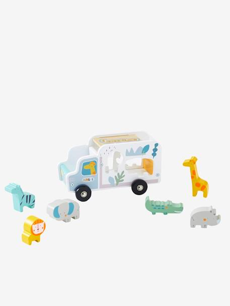 Truck Shape Sorter, Jungle GREY MEDIUM SOLID WITH DESIGN - vertbaudet enfant