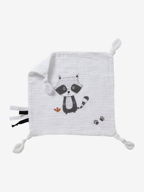 Toys-Cuddly Toys & Rattles-Square Baby Comforter in Fabric, Raccoon