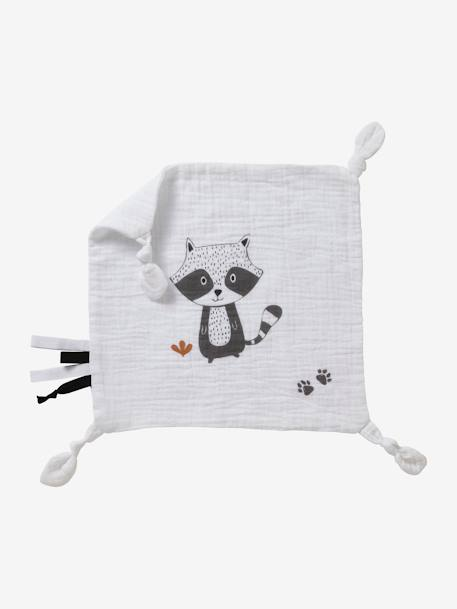Square Baby Comforter in Fabric, Raccoon WHITE LIGHT SOLID WITH DESIGN - vertbaudet enfant
