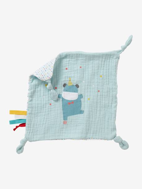 Square Muslin Comforter, Hippopotamus BLUE MEDIUM SOLID WITH DESIGN - vertbaudet enfant