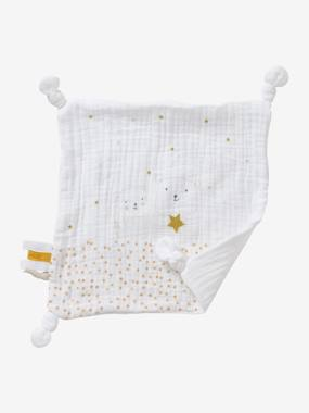 Toys-Square Baby Comforter Toy in Fabric, Little Teddy