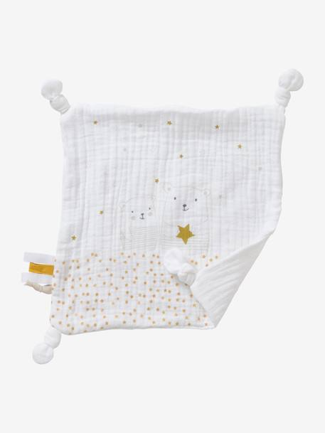 Square Baby Comforter Toy in Fabric, Little Teddy WHITE LIGHT SOLID WITH DESIGN - vertbaudet enfant