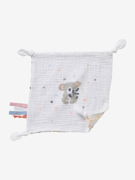 Square Baby Comforter Toy in Fabric, Koala WHITE MEDIUM SOLID WITH DESIGN - vertbaudet enfant