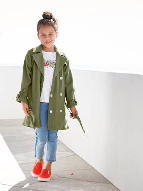 Mid season sale-Girls-Coats & Jackets-Showerproof Trench Coat with Ruffles at the Cuffs for Girls