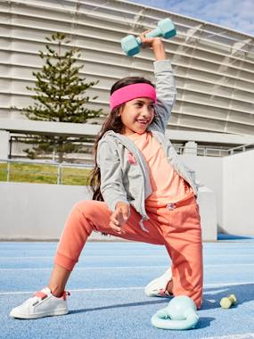 Girls-Trousers-Sports Combo in Fleece with Glittery Motifs for Girls