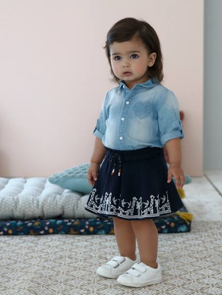 Embroidered Skirt with Giraffe Motif for Baby Girls BLUE DARK SOLID WITH DESIGN - vertbaudet enfant