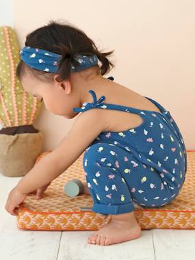 Baby-Dungarees & All-in-ones-Fleece Jumpsuit & Hairband Set for Baby Girls
