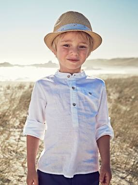 Vertbaudet Collection-Boys-Shirt in Linen/Cotton, Mandarin Collar, Long Sleeves, for Boys