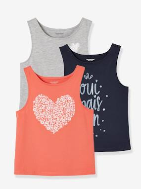 Girls-Tops-Pack of 3 Vest Tops for Girls