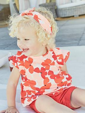 Vertbaudet Collection-Baby-Baby Girls' Blouse + Shorts + Headband Outfit