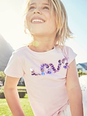 Girls-Tops-T-Shirts-Short-Sleeved T-Shirt for Girls with Maxi Sequins