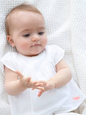 Festive favourite-Occasion Wear Blouse-bodysuit, Lace Neckline, for Baby Girls
