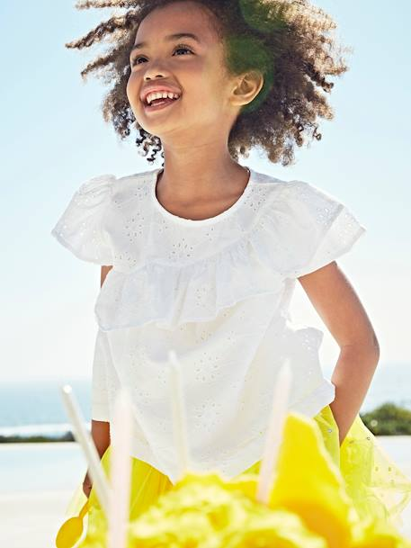Blouse with Ruffle in Broderie Anglaise for Girls WHITE LIGHT SOLID+YELLOW DARK SOLID - vertbaudet enfant