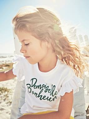 Festive favourite-Ruffled T-Shirt for Girls with Fancy Inscription