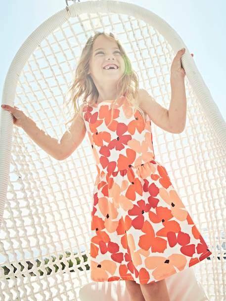 Occasion Wear Dress with Printed Poppies RED DARK ALL OVER PRINTED+WHITE LIGHT SOLID WITH DESIGN - vertbaudet enfant