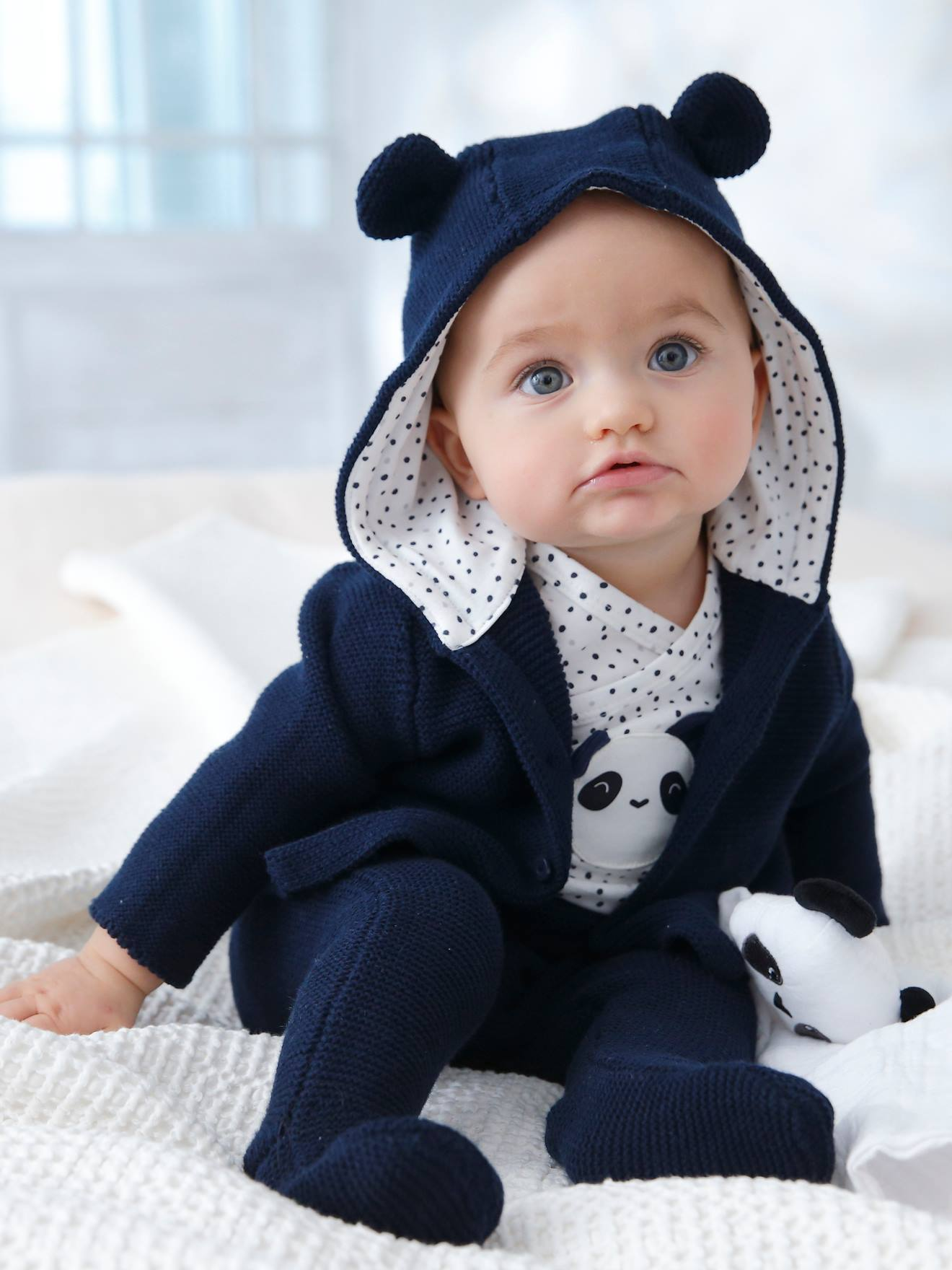 6-Piece Outfit Gift for Newborn Babies - blue dark solid