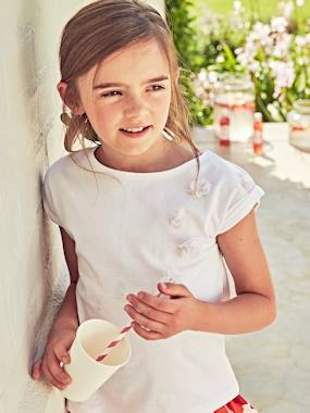 Festive favourite-Girls-T-Shirt for Girls with Tulle Flowers