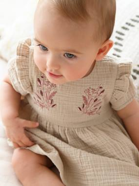 Baby-Embroidered Cotton Gauze Ensemble for Baby Girls