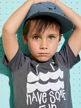 Boys-Tops-T-Shirts-T-Shirt with Shark Motif for Boys