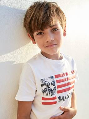 Boys-Tops-T-Shirts-T-Shirt with Flag Motif for Boys