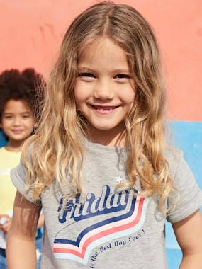 Girls-Cardigans, Jumpers & Sweatshirts-Short-Sleeved Sweatshirt with Pop 'Cracked'-Effect Motif, for Girls