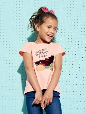 Fille-T-shirt, sous-pull-T-shirt-T-shirt fille motifs fruits sequins géants et broderies