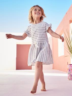 Vertbaudet Collection-Short-Sleeved Dress for Girls