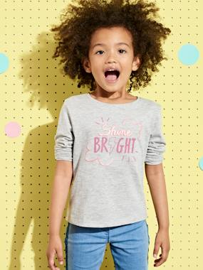 haut-T-shirt with Iridescent Message for Girls