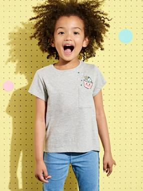 Girls-Tops-T-Shirts-T-Shirt for Girls with Sequinned Cupcake Motif