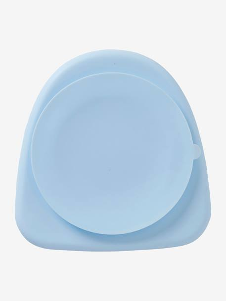 Plate in Silicone for Children BLUE LIGHT SOLID+PINK LIGHT SOLID - vertbaudet enfant
