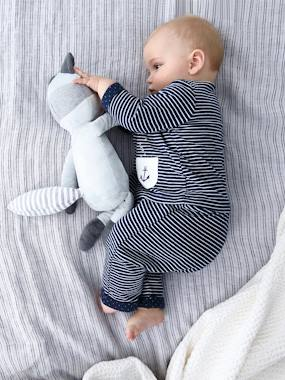 Vertbaudet Collection-Newborn Baby Ensemble, Striped Cardigan & Trousers Ensemble