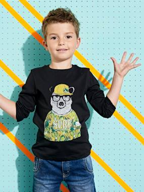 Boys-Tops-T-Shirts-Long-Sleeved T-Shirt with Cute Bear Motif, for Boys