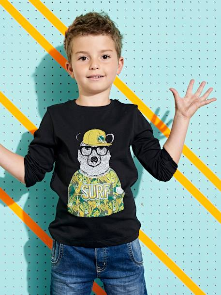 401aa481717 Long-Sleeved T-Shirt with Cute Bear Motif, for Boys - black dark solid with  design, Boys