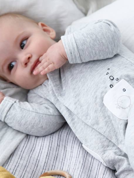 Jumpsuit for Babies BLUE DARK SOLID WITH DESIGN+GREY LIGHT MIXED COLOR+WHITE LIGHT SOLID WITH DESIGN - vertbaudet enfant