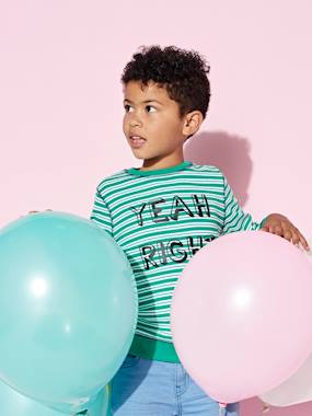 Boys-Tops-T-Shirts-Striped Top with Inscription in Relief for Boys