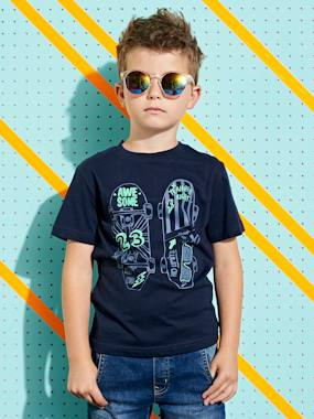 Summer collection-Boys-T-Shirt with Skateboard Motif in Relief for Boys