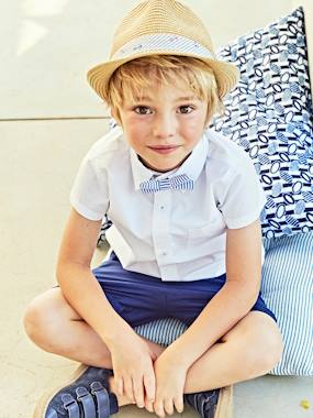 Vertbaudet Collection-Boys-Boys' Short-Sleeved Plain Shirt