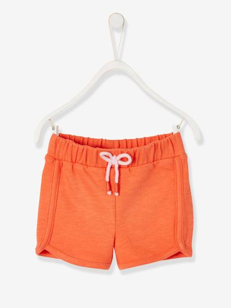 Sports Shorts for Baby Girls ORANGE MEDIUM SOLID - vertbaudet enfant