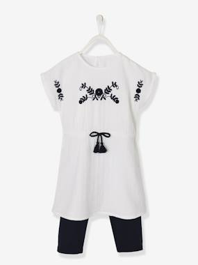 Dresses-Embroidered Dress + Leggings Outfit for Girls
