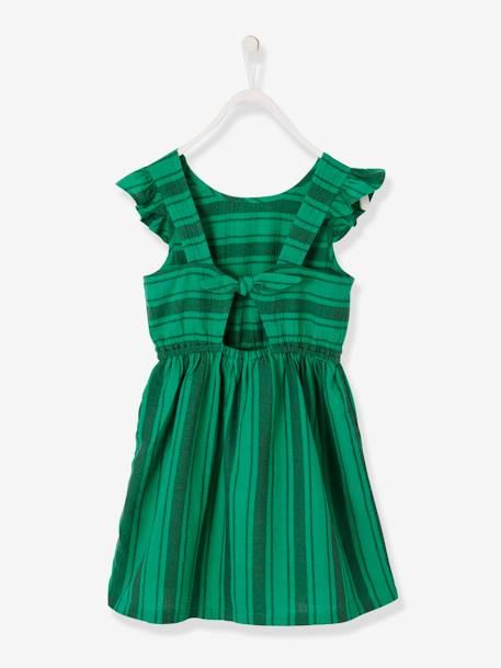 Striped Dress with Ruffled Sleeves, for Girls GREEN BRIGHT STRIPED - vertbaudet enfant