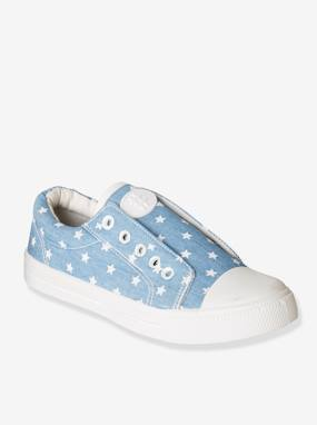 Baskets-Elasticated Trainers in Canvas for Girls