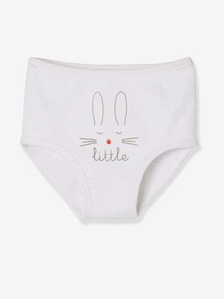 Pack of 5 Baby Pure Cotton Underwear, Designed for Nappies WHITE LIGHT SOLID WITH DESIGN - vertbaudet enfant