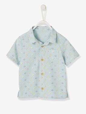 Baby-Blouses & Shirts-Short-Sleeved Printed Shirt for Baby Boys