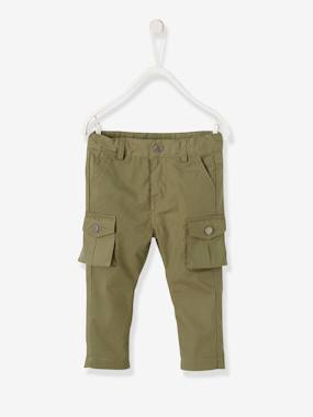 Baby-Trousers & Jeans-Cargo-style Trousers in Cotton for Baby Boys
