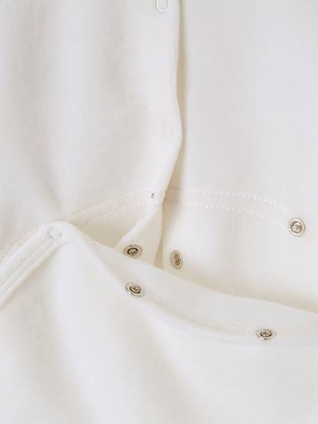 Babies' Velour Pyjamas, Press-studs on the Back WHITE LIGHT SOLID WITH DESIGN - vertbaudet enfant