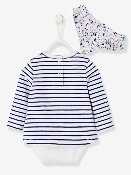 Striped & Printed Bodysuit T-Shirt & Bib for Newborn Babies BLUE DARK STRIPED - vertbaudet enfant